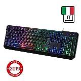 KLIM Chroma Tastiera ITALIANA per Gaming USB - Alte Performance - Colori da Videogioco e Retroilluminata - Tastiera da Gioco - Tastiera per Videogame, PC PS4 Windows, Mac - Nuova 2019 Versione