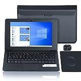 Computer portatile 10.1 pollici, Windows 10 Quad Core Netbook Computer Netflix, YouTube, WiFi, HDMI, con borsa per laptop, mouse, tappetino per mouse, cuffie (nero)