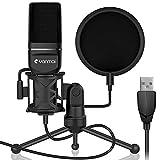 Yanmai Microfono USB per PC, microfono cardioide a condensatore professionale Podcast con supporto in metallo, filtro pop a doppio strato e treppiede per registrazione in studio, trasmissione e gioco