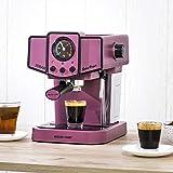 Ecode - Macchina da caffè Espresso Delice Purple, 20 Bar di Pressione, vaporizzatore orientabile, Serbatoio da 1,5 Litri, Mono/Doppia dose, manometro con Temperatura