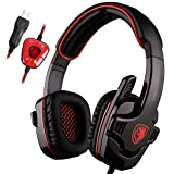 SADES SA901 Gaming Headset 7.1 Surround Sound USB Pro Gaming gioco cuffie Mic a distanza per PC Laptop Deep Bass, Controllo del Volume(Rosso)