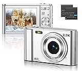 CLUINIGO Fotocamere Digitali Compatte 2,88 Pollici Ultra HD 2.7k Macchinetta Fotografica con 44 Mega Pixel zoom digitale 16x per bambini anziani principianti viaggio argento
