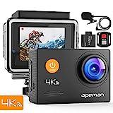 APEMAN Action Cam A79, 4K UHD WiFi 16MP con Telecomando e Microfono Esterno 40M, Impermeabile Fotocamera SubacqueaEIS Stabilizzata Videocamera