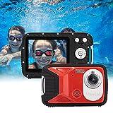GDC8026 Fotocamera digitale impermeabile/Zoom digitale 8x / 16 MP / 1080P FHD/Schermo LCD TFT da 2,8'/ Telecamera subacquea per bambini/Adolescenti/Studenti/Principianti/Anziani (Rosso)