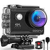 COOAU Action Cam HD 4K 20MP WiFi Con Webcam PC Mode Microfono Esterno Fotocamera Sott'acqua 40M con Telecomando EIS Stabilizzazione Videocamera Impermeabile 170° Grandangolare 2X1200mAh Batterie