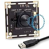SVPRO Pinhole Lens - Modulo fotocamera USB da 3,7 mm con microfono, 1080P Full HD USB con sensore IMX322, 0.01Lux Low Illumination Webcam H.264 UVC