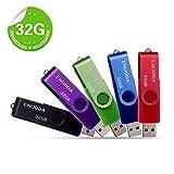 5 Pezzi 32GB Chiavetta ENUODA Pennetta Girevole USB 2.0 Unità Memoria Flash (5 Multicolorato: Nero Blu Verde Viola Rosso)