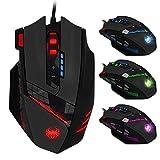 Zelotes Mouse Gaming con 12 Pulsanti, Mouse da Gioco Programmabile,4000 DPI Pulsante di Fuoco Disegno Ergonomico per Gamer,Black