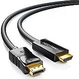 deleyCON 2m Cavo DisplayPort a HDMI - Alta Velocità 4K UHD Full HD 1080p 3D HDCP Trasmissione Audio - Maschio DP a HDMI Maschio Cavo Adattatore - Nero